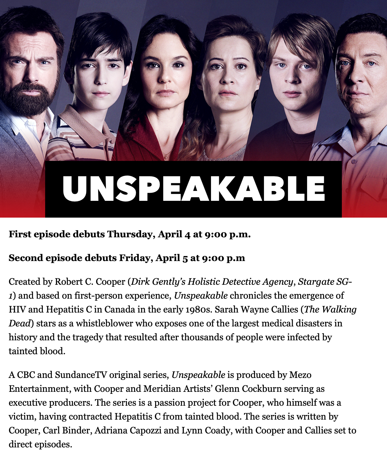UNSPEAKABLE: Will premiere in the US on SundanceTV (April 4